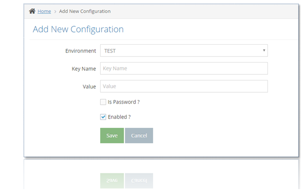 Add Password Configuration Screen